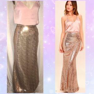 Gold Sequins formal maxi Skirt
